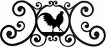 Wall Art, Plaque, Rooster, Wrought Iron, Over the Door