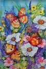 Garden Flag, Bright Butterfly, Flowers, Spring / Summer