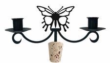 Butterfly - Wrought Iron Wine Bottle Topper - Candelabra