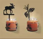 CANDLE JAR HOLDERS & WALL SCONCES, WROUGHT IRON