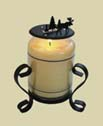 CANDLE JAR TOPPERS, WROUGHT IRON