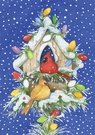 Garden Flag, Christmas, Cardinal Lights, Birdhouse