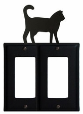 Double GFI Cover, Cat, Wrought Iron