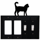 Double GFI & Double Switch Cover, Cat, Wrought Iron