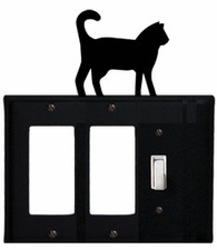 Double GFI and Switch Cover, Cat, Wrought Iron