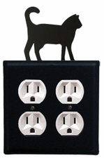Double Outlet Cover, Cat, Wrought Iron