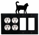 Double Outlet & Double GFI Cover, Cat, Wrought Iron