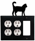 Double Outlet and GFI Cover, Cat, Wrought Iron