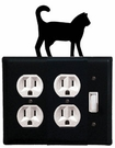Double Outlet and Switch Cover, Cat, Wrought Iron