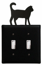 Double Switch Cover, Cat, Wrought Iron