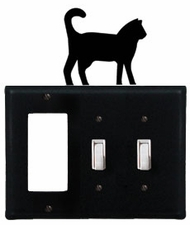 GFI and Double Switch Cover, Cat, Wrought Iron