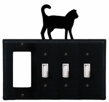 GFI and Triple Switch Cover, Cat, Wrought Iron