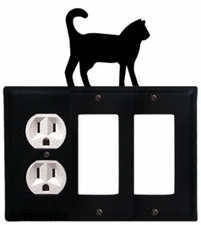 Outlet and Double GFI Cover, Cat, Wrought Iron