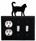 Outlet and Double Switch Cover, Cat, Wrought Iron