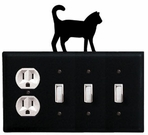 Outlet and Triple Switch Cover, Cat, Wrought Iron