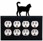 Quad Outlet Cover, Cat, Wrought Iron