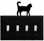 Quad Switch Cover, Cat, Wrought Iron