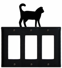 Triple GFI Cover, Cat, Wrought Iron