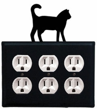 Triple Outlet Cover, Cat, Wrought Iron