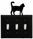Triple Switch Cover, Cat, Wrought Iron