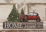 Christmas Decoration, Block Sign, Red Vintage Car, Pine Trees