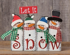 Christmas Decoration, Let It Snow Snowmen, Wood