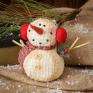 Christmas Decoration, Vintage Style Snowman with Earmuffs