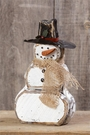 Wooden Snowman Christmas Decoration, Burlap Scarf, Black Hat