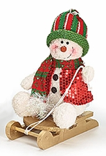 Christmas, Playtime Plush Snowman on Sled, Knit Cap