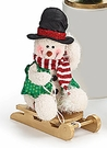 Christmas, Playtime Plush Snowman on Sled, Top Hat
