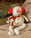 Christmas, Snowman Shelf-Sitter with Earmuffs, Vintage Style