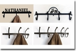 COAT RACKS /  HOOKS, WROUGHT IRON, WALL MOUNTED