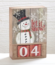 "Countdown Calendar Wood Block with Snowman, Snowflakes, ""Let It Snow"""