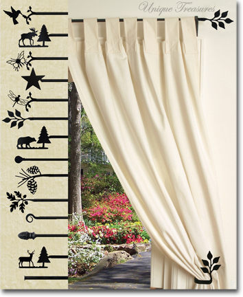 CURTAIN RODS TIE BACKS BRACKETS RINGS Wrought Iron