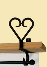 Curtain Shelf Brackets, Heart, Wrought Iron