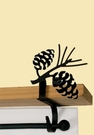 Curtain Shelf Brackets, Pinecones, Wrought Iron