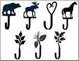 Wall Hooks, Wrought and Cast Iron, Large