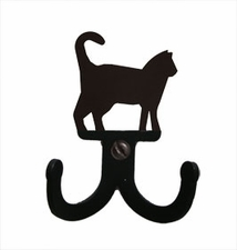 Double Wall Hook, Cat, Wrought Iron