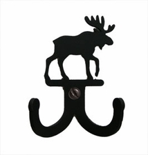 Double Wall Hook, Moose, Wrought Iron