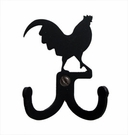 Double Wall Hook, Rooster, Wrought Iron