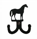 Double Wall Hook, Horse, Wrought Iron