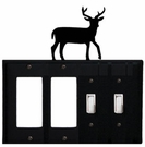 Double GFI & Double Switch Cover, Deer, Wrought Iron