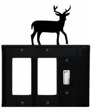 Double GFI and Switch Cover, Deer, Wrought Iron