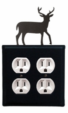 Double Outlet Cover, Deer, Wrought Iron