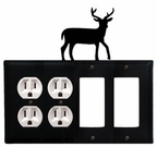 Double Outlet & Double GFI Cover, Deer, Wrought Iron