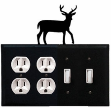 Double Outlet & Double Switch Cover, Deer, Wrought Iron