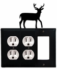 Double Outlet and GFI Cover, Deer, Wrought Iron