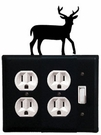 Double Outlet and Switch Cover, Deer, Wrought Iron