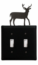 Double Switch Cover, Deer, Wrought Iron