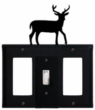 GFI, Switch and GFI Cover, Deer, Wrought Iron